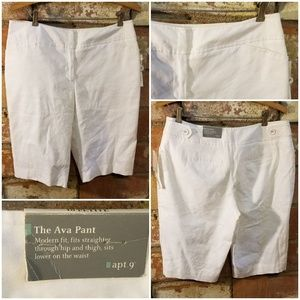 NWT Apt 9 White lined  Ava Modern Fit dress shorts